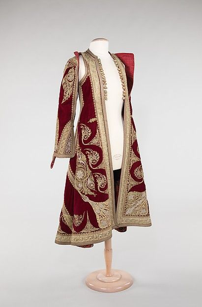 """Coat, 1900–1909. Albanian. The Metropolitan Museum of Art, New York. Brooklyn Museum Costume Collection at The Metropolitan Museum of Art, Gift of the Brooklyn Museum, 2009; Gift of Mr. and Mrs. Stanley Mortimer, 1975 (2009.300.964)   This work is featured in our """"Hungarian Treasure: Silver from the Nicolas M. Salgo Collection"""" exhibition on view through October 25, 2015 #HungarianTreasure"""