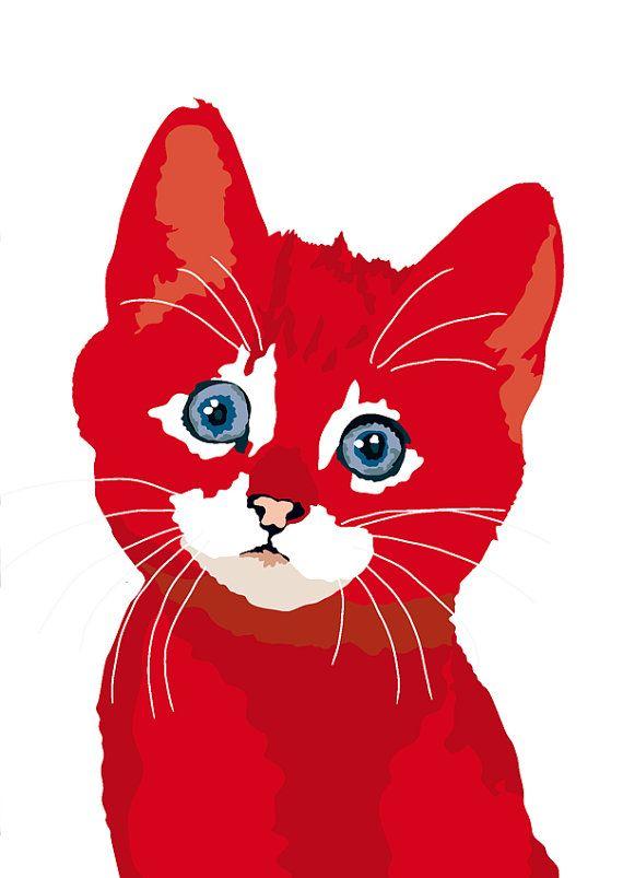 Chaton Rouge par animalsincolor sur Etsy, $16.00