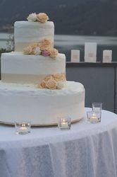 wedding cake cutting lake view