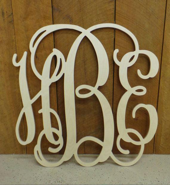"Wooden Monogram - 24"" Vine Script Monogram - Monogram Door Hanger - Monogram Wall Hanging - Wedding Monogram - Nursery Monogram"