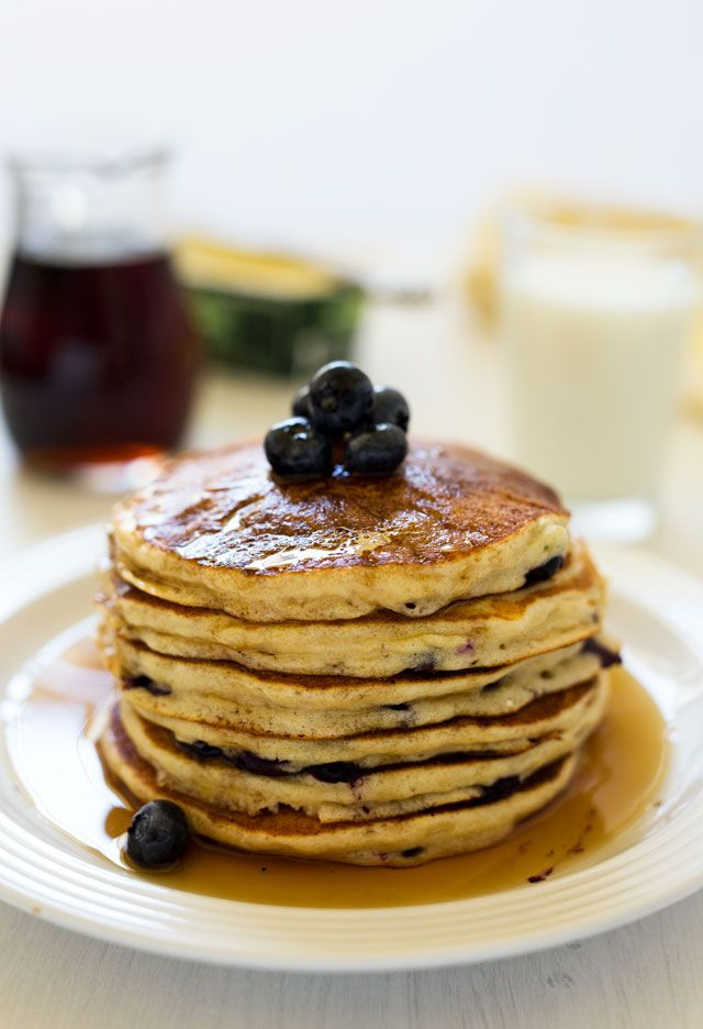 light and fluffy whole wheat lemon ricotta blueberry pancakes