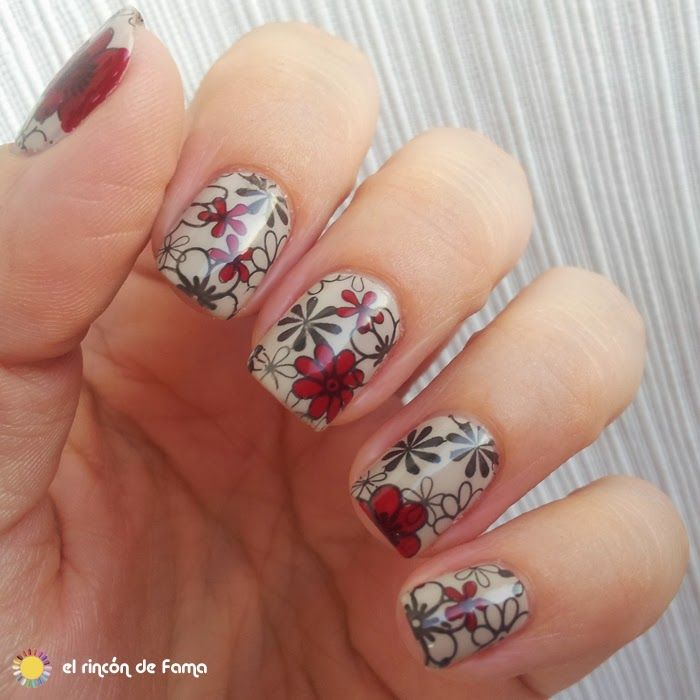 95 best flowers nail art images on pinterest nail art nail colaboracin con born pretty store 9 reverse stamping con imitacin m100 konad http nail stampingstamping platesnail art prinsesfo Choice Image