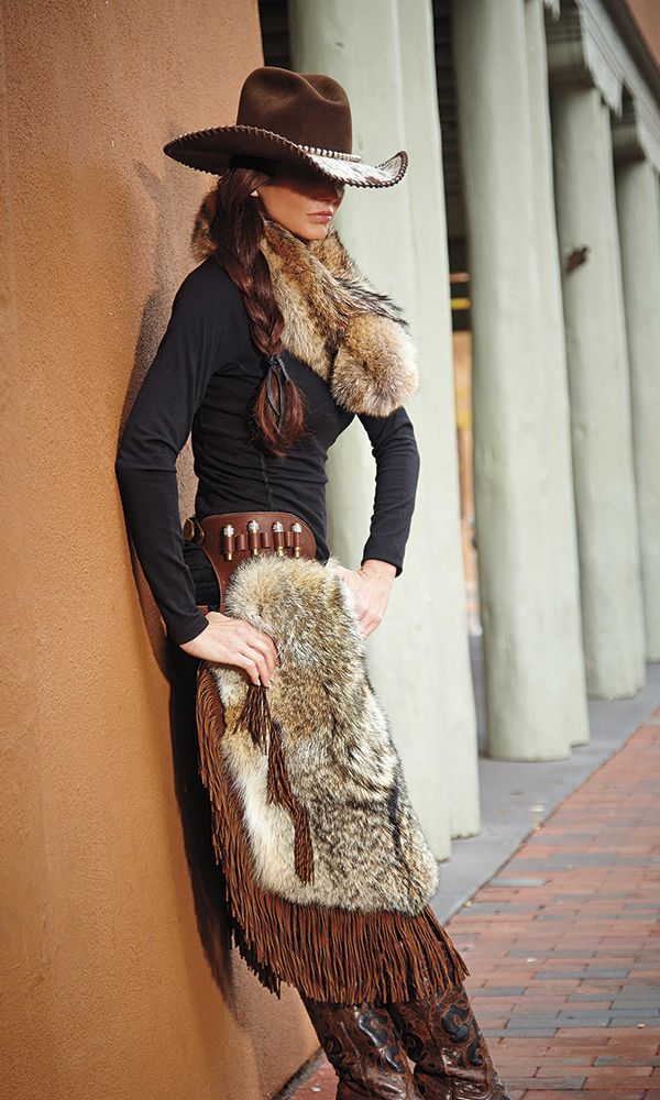 These Coyote Couture chinks by Gail Orrick sport Swarovski-encrusted bullets and hand-cut fringe. True cowgirl chic!