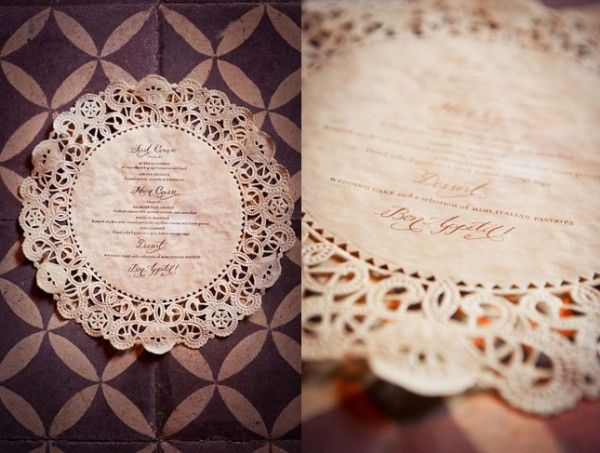 Menu printed in doily paper Crea con Elisa: Decorare con la carta pizzo
