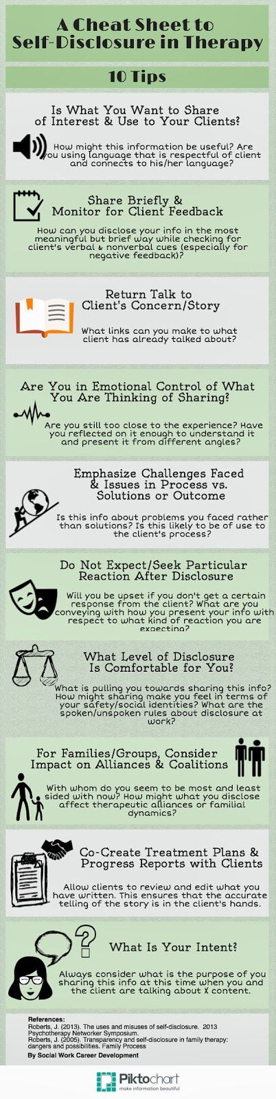 """The Art of Self-Disclosure in Therapy by Social Work Career Development < some of the key take-aways from Janine Roberts, Ed.D.'s talk about """"Therapist Self-Disclosure""""..."""