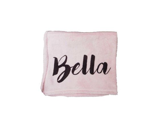 Personalised baby blanket girl blanket pink black by TheUniqueCo