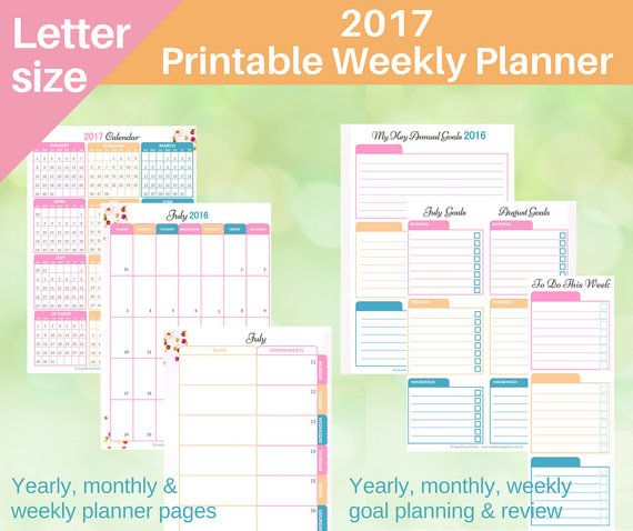 2017 Printable Weekly Planner  - Customisable with 2 layout designs and 3 optional inserts. Incorporates goal planning, monthly calendar, weekly planner, appointments diary, to do lists. And so pretty!