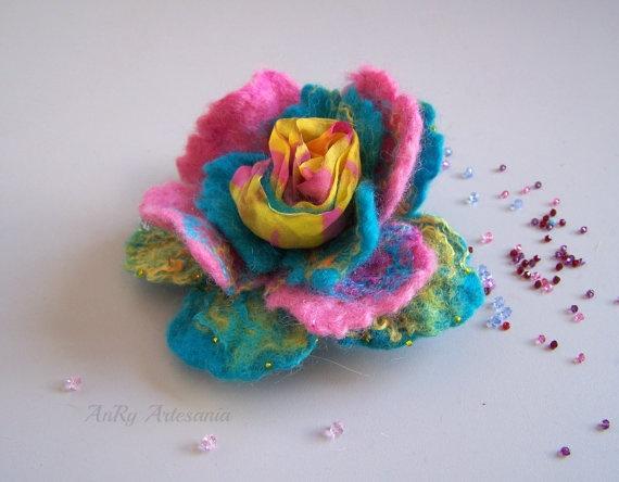 Felt flower brooch multi colors rose Wool Felt Jewelry by ArteAnRy, €15.00