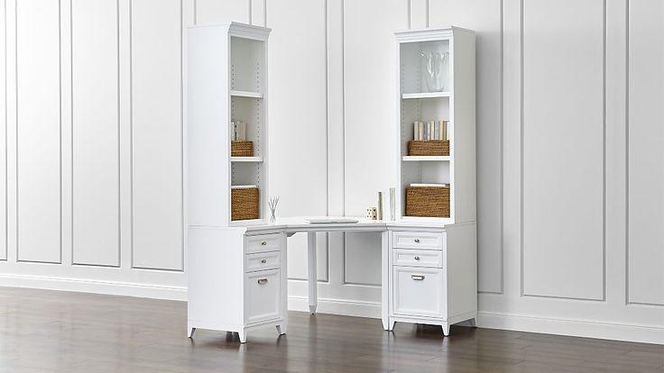 Harrison 5-Piece White Corner Desk Filing Suite | Crate and Barrel