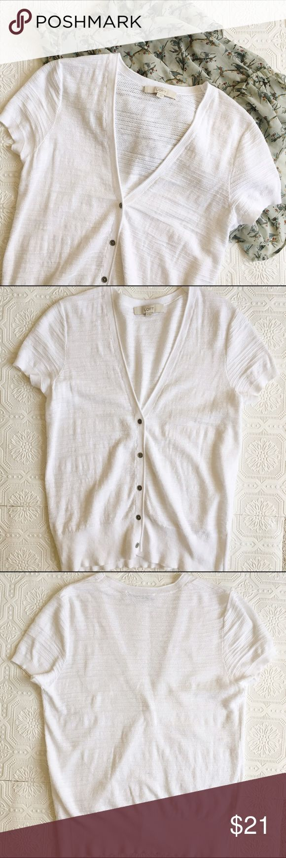 LOFT V Neck Cardigan Ann Taylor LOFT V neck cardigan in like new condition! Short sleeved. Silver buttons. LOFT Sweaters Cardigans