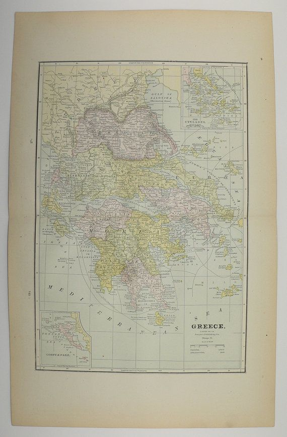 Old Greece Map Antique East Indies Map Vintage Persia Map 1886 Greek Islands Cyclades Iran Unique Gift Under 25 Travel Map Wedding Prop by OldMapsandPrints on Etsy