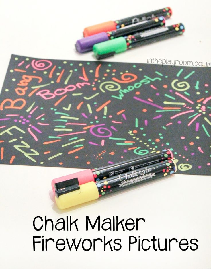 Fireworks Pictures with Chalk Markers
