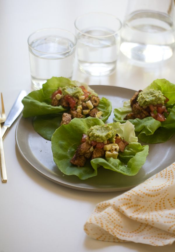 Spicy Chicken Lettuce Cups // www.acozykitchen.com (chicken and corn with spices in lettuce ounds good. not this recipe, but some parts of it might help)
