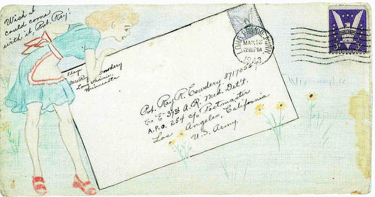 "Cecile Cowdery drew on the envelopes of letters to her husband during WW2: ""After my first colorful envelope arrived, Ray let me know it had drawn a lot of attention from the other soldiers. From then on, I dared not let up! I drew those scenes to help him feel special. While other soldiers got ""Dear John"" letters, my man was assured daily by my sharing of remembered things from back home."""