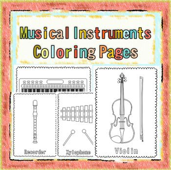 this resource contains 47 musical instrument coloring pages individual images each page contains