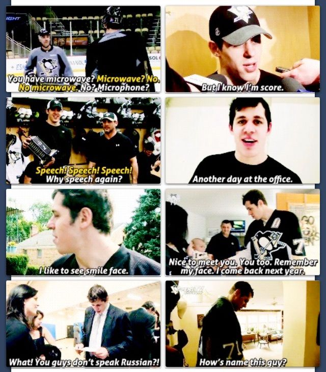 This is Evgeni Malkin. These photos remind me of all the different first languages of professional hockey players. Many, like Geno, come to the NHL not knowing English. What they do know is the language of hockey. It brings these peoples together. I think it's a powerful message of doing something you love to unite you with others across the cultural lines.