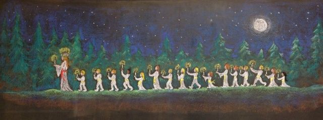 December ~ Santa Lucia ~ Guiding the light through the forest ~ chalkboard drawing
