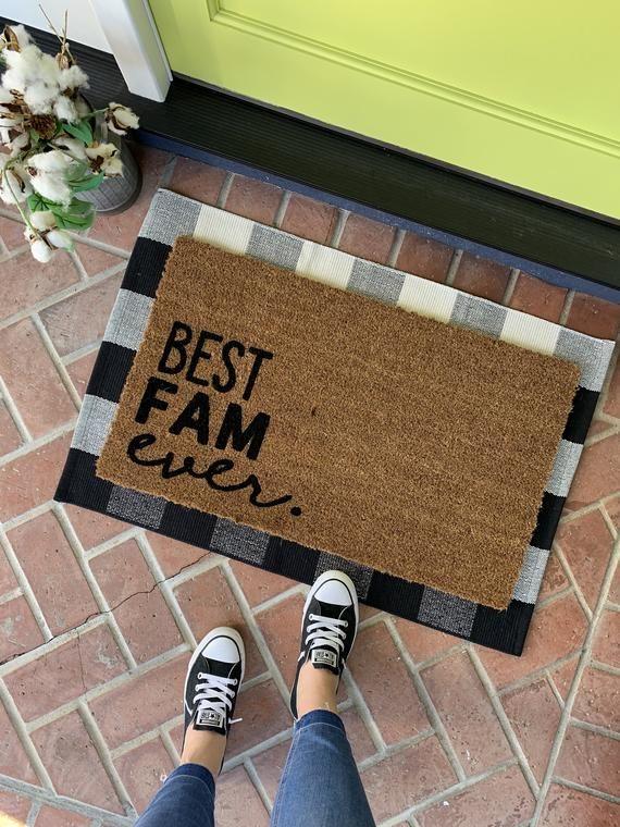 Best Fam Ever Doormat Farmhouse Doormat Family Welcome Mat Etsy Door Mat Rustic Doors Farmhouse Doormats