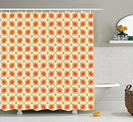 Ambesonne Geometric Decor Collection, Linked Bold Geometric Shapes 70s Vintage Style Minimalist Pattern Boho Home Decor, Polyester Fabric Bathroom Shower Curtain, 84 Inches Extra Long, Orange Cream