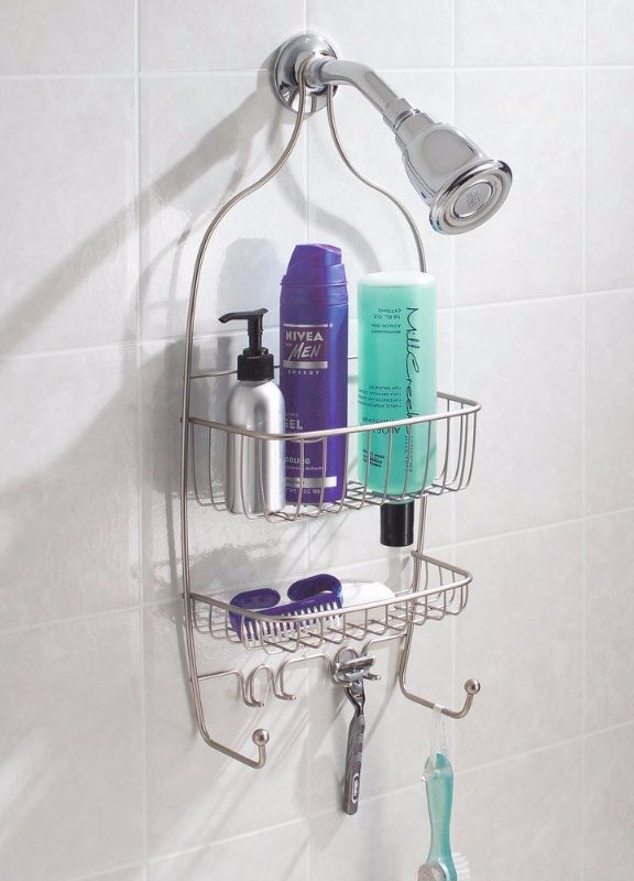 This contemporary shower caddy is designed to hold bottles upside down for easy pouring. Its non-slip grip will keep your caddy in place.