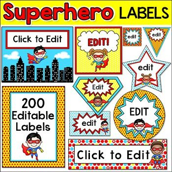 Superhero Labels: Let your imagination soar when you decorate your classroom using these adorable superhero kids theme labels and templates! This value packed set includes over 200 full color template designs that can be used for labels, classroom jobs, teacher binder covers, name tags, posters, signs, stickers, certificates and anything else you can think of for your classroom!
