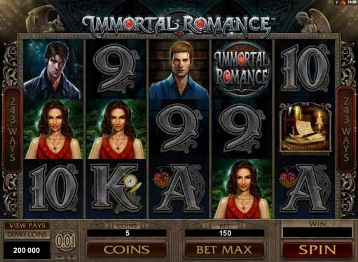 #Immortal #Romance slot is a casino game which is developed around the lives of four characters: Amber – a game heroine dressed in red, Sarah – genetics doctor and a friend to Amber, Troy – a bad boy who is a vampire, and Michael – a charming professor who is a vampire. The Immortal Romance is a 5 reel game with a total of 243 winning ways, great features and bonuses.