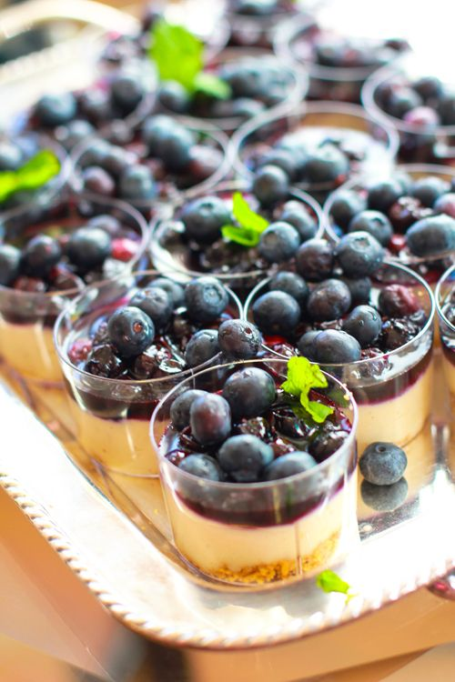 Two-Bit Blueberry Cheesecakes from Cheeky Kitchen  Easy to serve, delicious to eat! These blueberry cheesecakes are a great summer dessert for the low key wedding where your guests are lounging in the sun. While you're at it - why stop at blueberries? Top this dessert with strawberries, raspberries or any other local produced fruit in season!