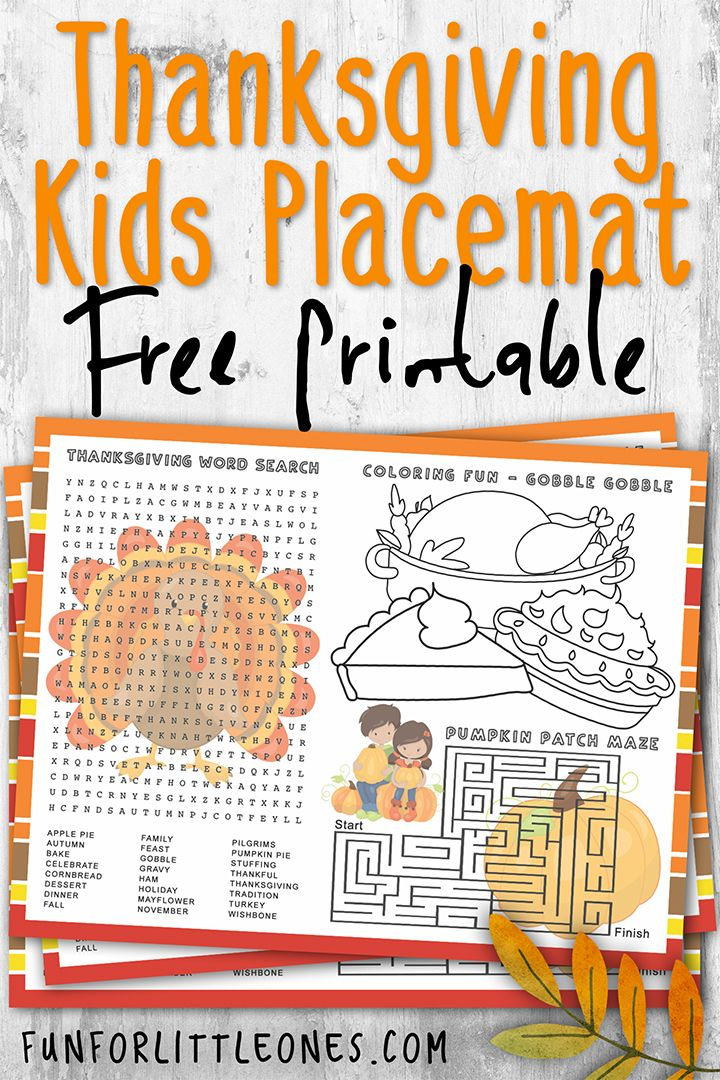 Thanksgiving Activity Placemat For Kids Free Printable Thanksgiving Placemats Kids Thanksgiving Placemats Thanksgiving Kids Table