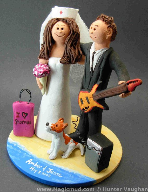 Rock Guitarist's Wedding Cake Topper, Guitar Wedding Cake Topper, Nurse Bride Wedding Cake Topper, Rock n Roll Bride and Groom CakeTopper  The photographs in this listing are but an example of what we will create for you....simply email or call toll free with your own info and pictures of yourselves, and we will sculpt for you a treasured memory from your wedding!    $235 #magicmud 1 800 231 9814 www.magicmud.com