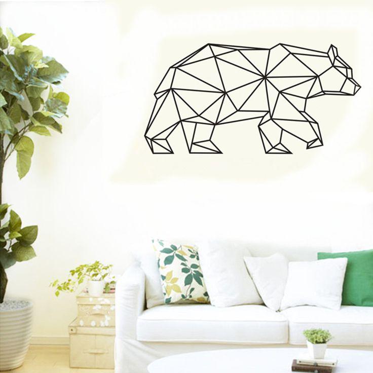 CaCar Nuovo Disegno Geometrico Orso Autoadesivo Della Parete Geometria Serie Animale Decalcomanie 3D Della Parete Del Vinile di Arte Personalizzata Decalcomanie Home Decor A134(China (Mainland))