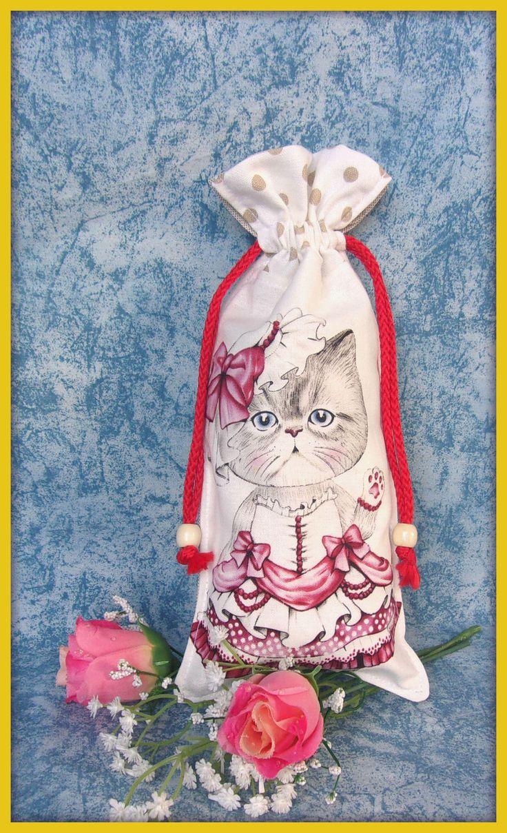Pochon tissu motif chat robe blanche et violette : Accessoires à accrocher par orkan28