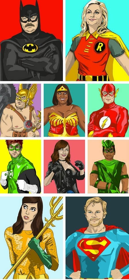 "The Cast of NBC's ""Parks and Recreation"" as Superheroes. I don't watch this show, but I love The Justice League & The Avengers."
