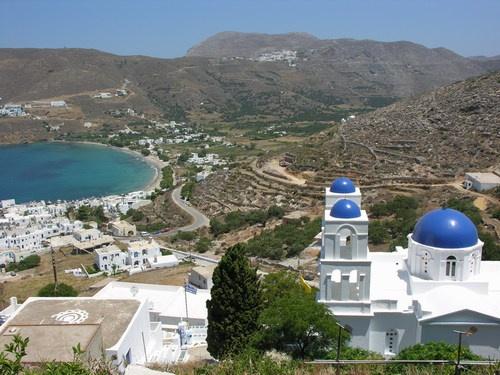Aigiali view from Potamos village, Amorgos island, Greece