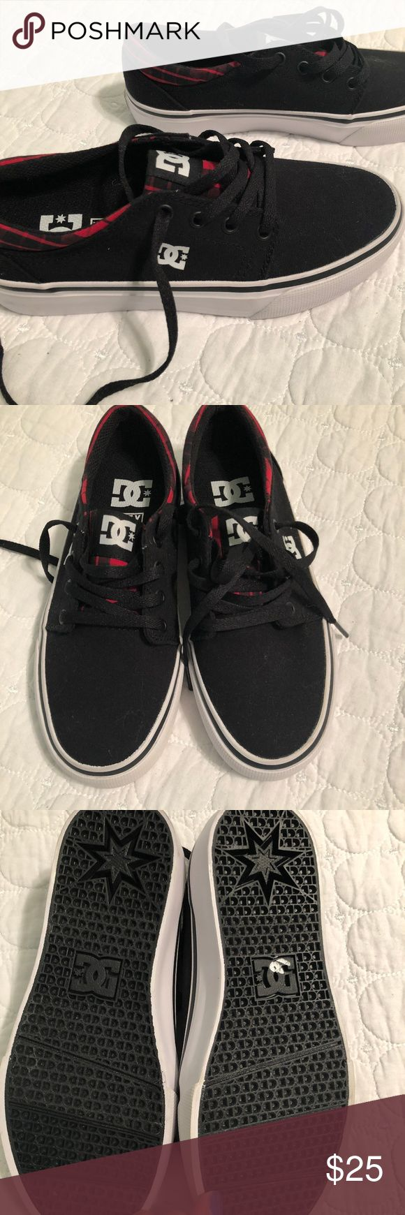 New without Box Boys DC Skate Shoes Brand new without box.  DC Skate shoes black with red plaid accents.  Size 5. DC Shoes Sneakers