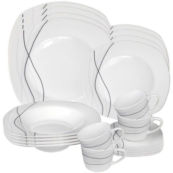 dinner dish sets for sale. lorren home trends confetti 20-piece square dinnerware set in grey ($70) ❤ dinner dish sets for sale