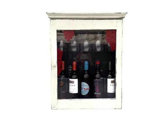 Rustic Wine Rack Cabinet Bar Glasses Grape Motif by JMEllisDesigns