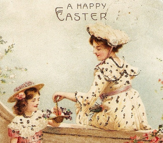 Victorian Mother And Daughter In Hats With Lamb 1907 Vintage Easter Postcard