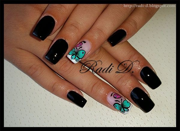 Black polish with Butterflies by RadiD