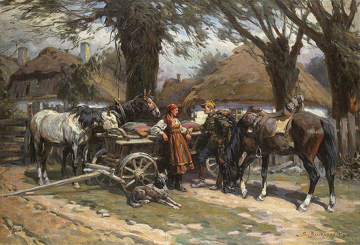 Bagieński Stanisław . Ułan i dziewczyna olej, płótno, 68 x 99.5