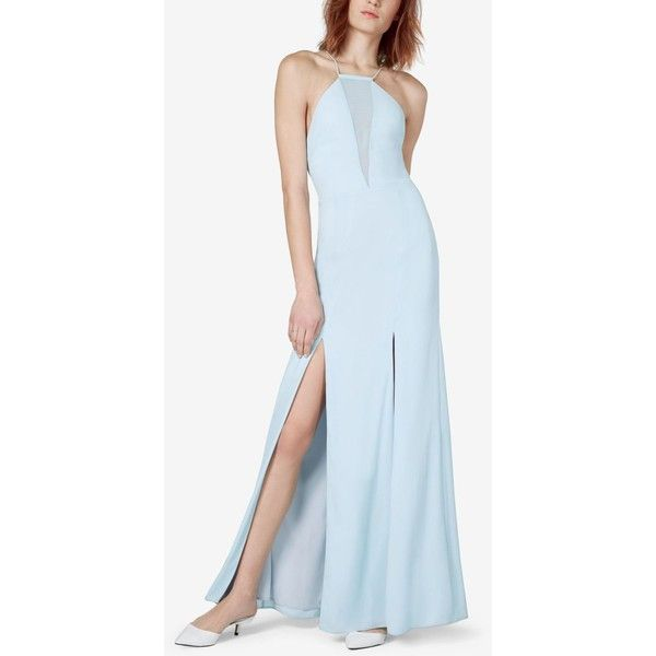 Fame and Partners Bluebell Lace-Up-Back Slit Gown ($229) ❤ liked on Polyvore featuring dresses, gowns, pale blue, blue evening gown, blue corset, front lace up corset, pale blue dress and corset gown