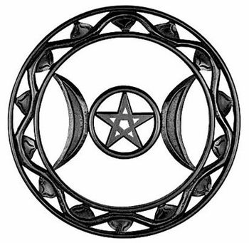 Pentacle of the Triple Moon Plaque - pagan wiccan witchcraft magick ritual supplies