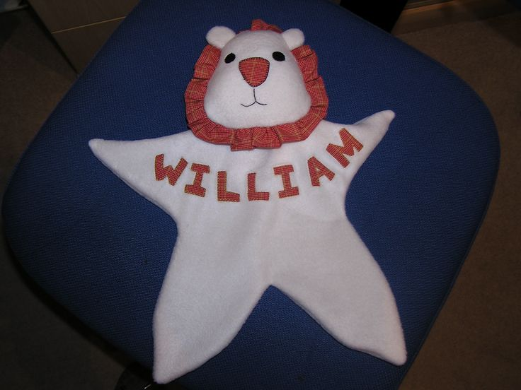 Home made personalised lion baby comforter - made to order
