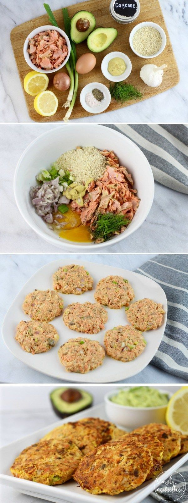 Serve these burgers on a bed of greens with healthy salad toppings and drizzled with olive oil, freshly squeezed lemon juice and a dollop of mashed avocado or Avocado Garlic Sauce. This recipe can be made with fresh salmon or canned salmon. | Whole30 | Paleo | Gluten-free | Dairy-free | http://simplynourishedrecipes.com/salmon-burgers/