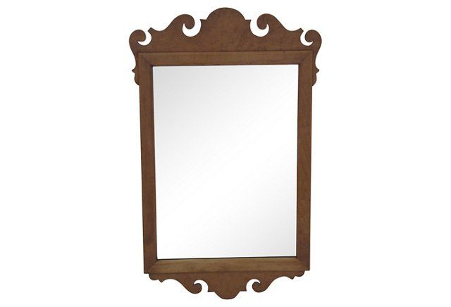 chippendal-style burl mirror