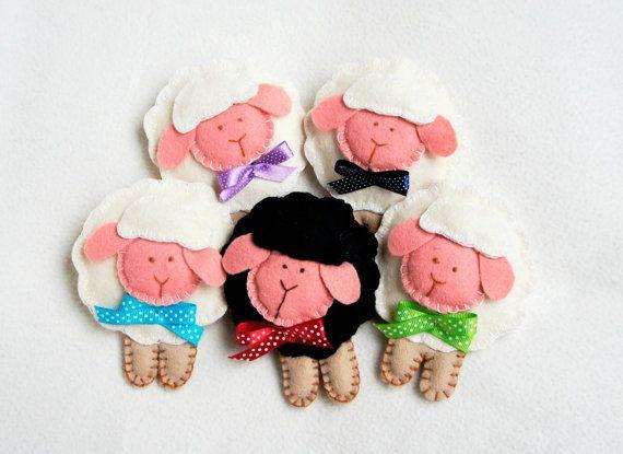 Sheep ornament felt set of 5 lamb Easter by PrettyFeltThings