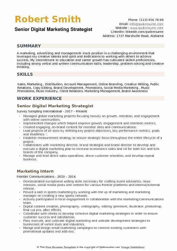 The 10 Best Digital Marketing Cv Examples Templates Digital Marketing Manager Digital Marketing Manager Resume
