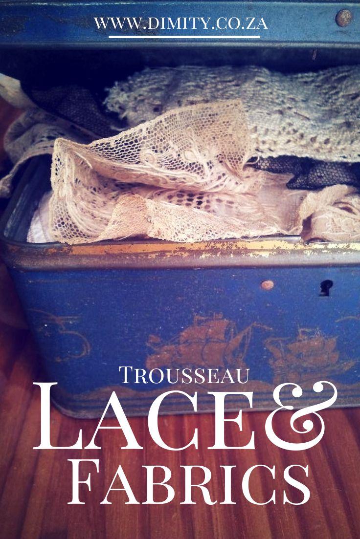 Dimity's collection of antique trousseau lace & fabrics for bridal gowns #Dimity #EcoBride #lace #slowfashion #vintagelace #bride www.dimity.co.za