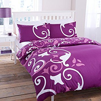 Funda de edredón con sábana bajera y funda de almohada, diseño de flores, 50% algodón/50% poliéster