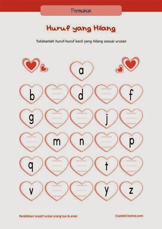 bermain sambil belajar paud (balita/TK), menulis huruf A-Z sesuai urutan
