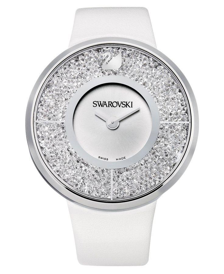 Swarovski Watch, Women's Swiss Crystalline White Calfskin Leather Strap; Crystal and stainless steel with calfskin strap, swarovski.